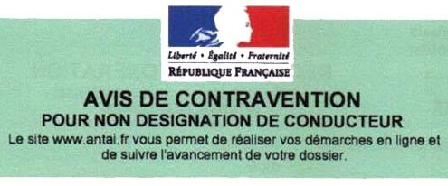 Avis de contravention pour non-designation du conducteur.